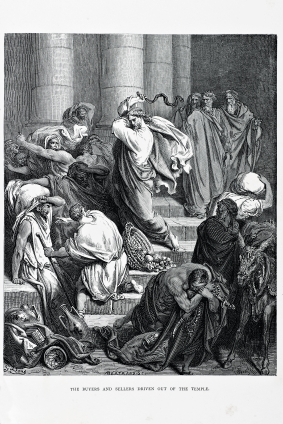 Jesus drives the Traders from the Temple, Engraving from 1870. Engraving by Gustave Dore, Photo by D Walker.